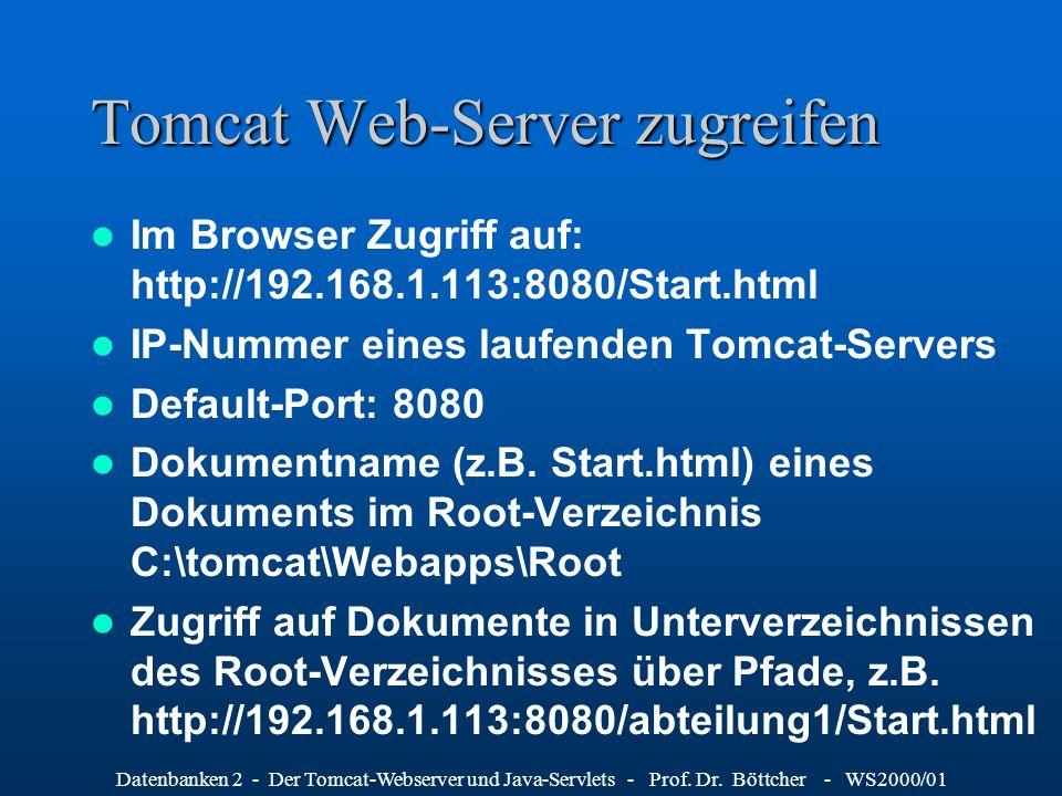 Tomcat Web-Server zugreifen