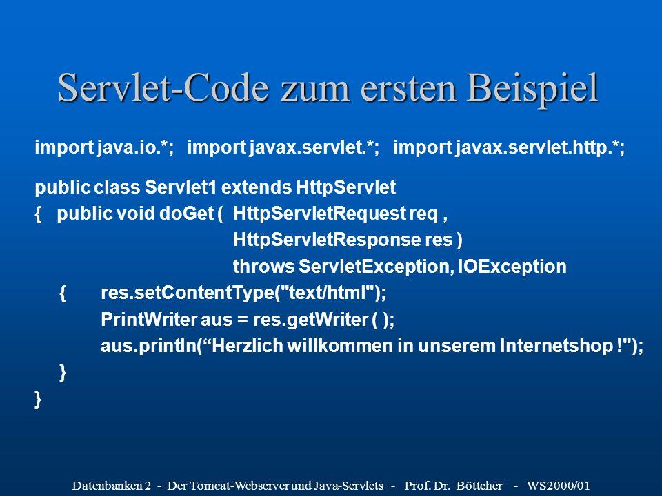 Servlet-Code zum ersten Beispiel