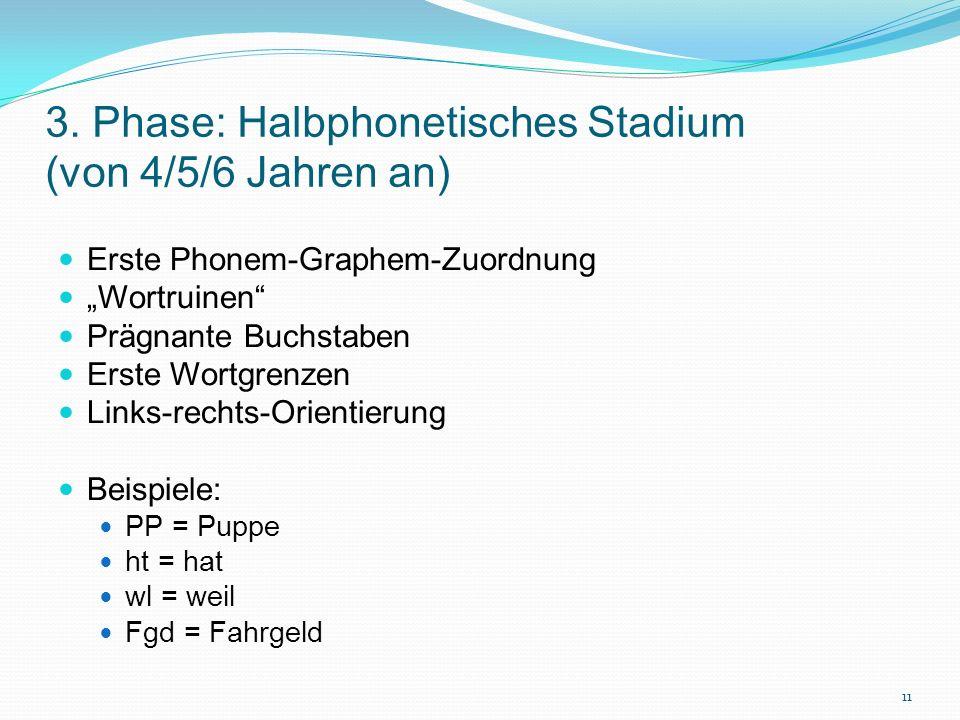 3. Phase: Halbphonetisches Stadium (von 4/5/6 Jahren an)