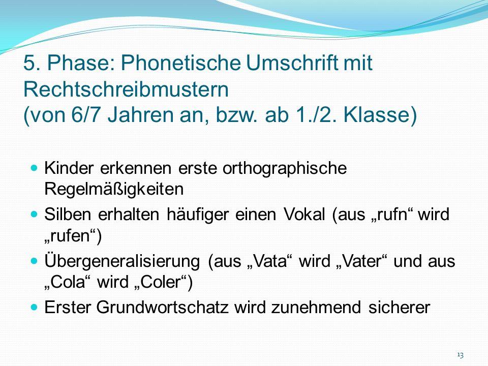 5. Phase: Phonetische Umschrift mit Rechtschreibmustern (von 6/7 Jahren an, bzw. ab 1./2. Klasse)