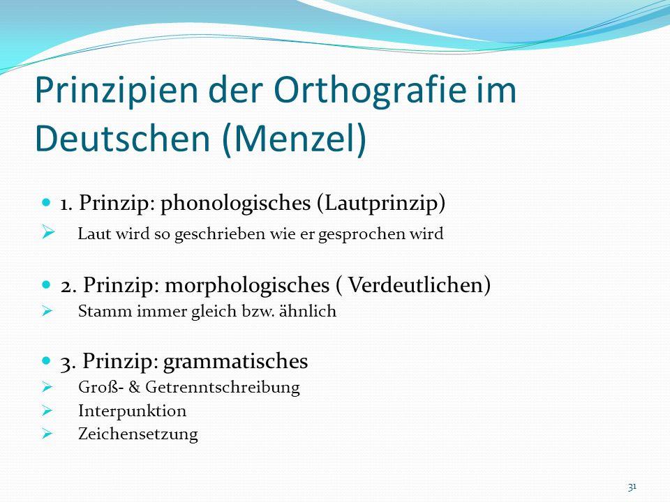 Prinzipien der Orthografie im Deutschen (Menzel)