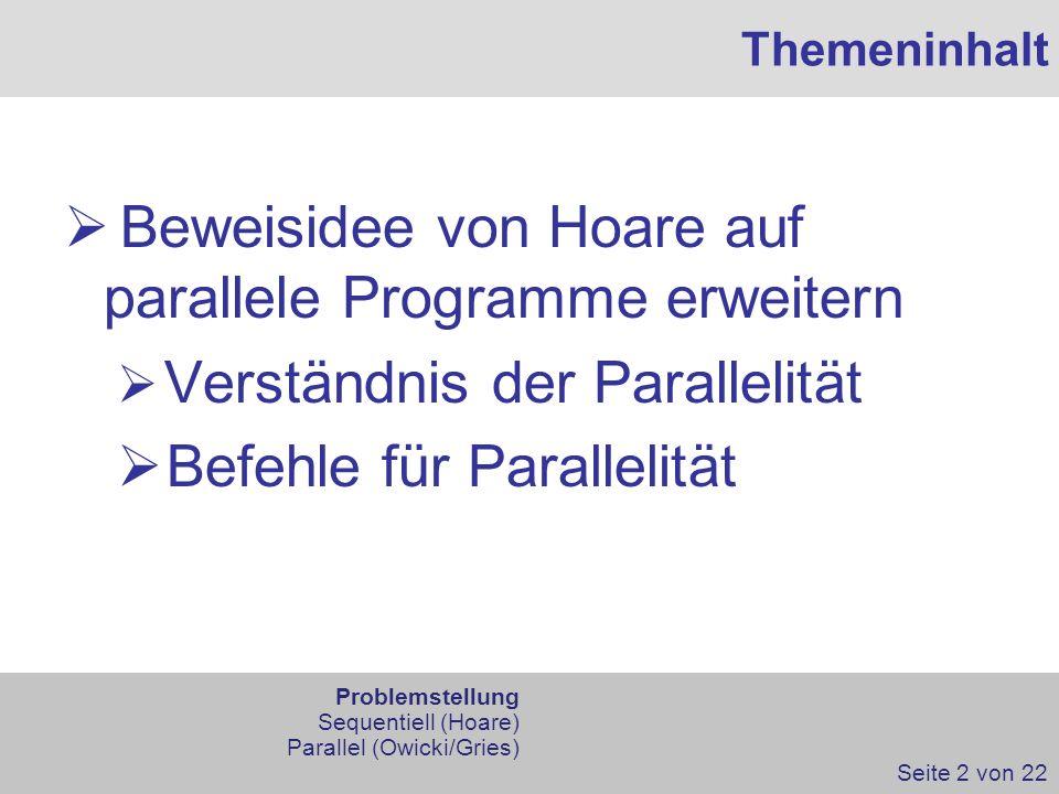 Beweisidee von Hoare auf parallele Programme erweitern
