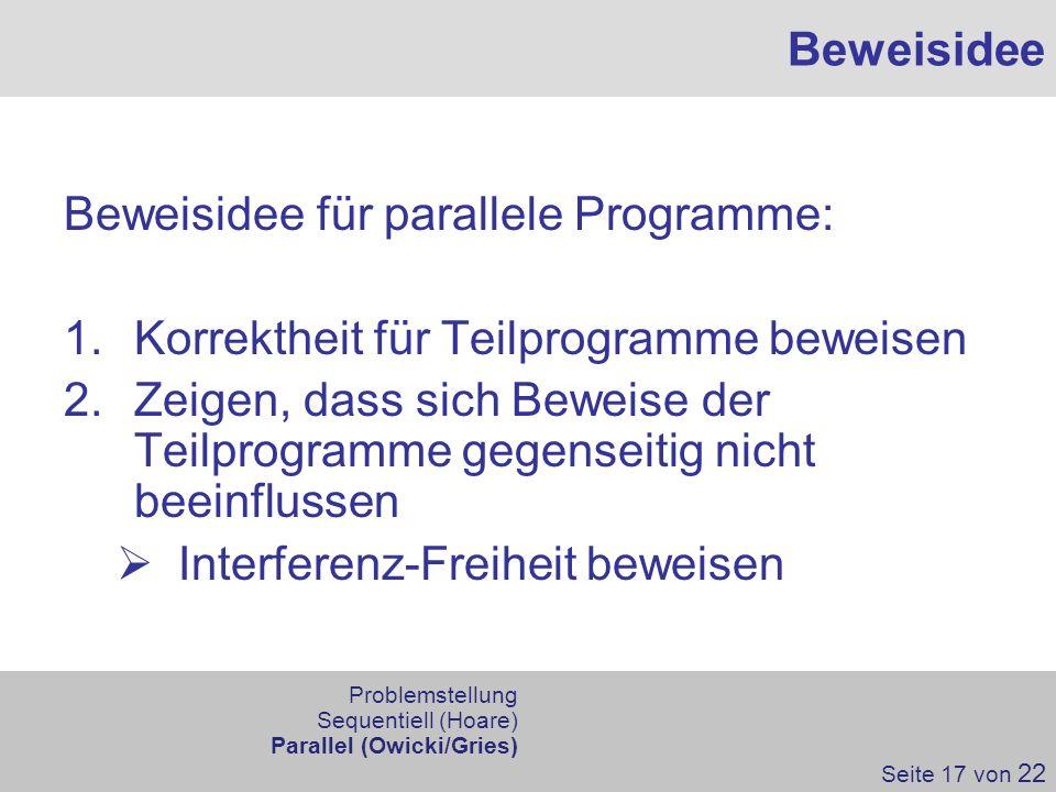 Beweisidee für parallele Programme: