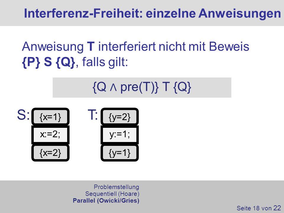 S: T: Interferenz-Freiheit: einzelne Anweisungen