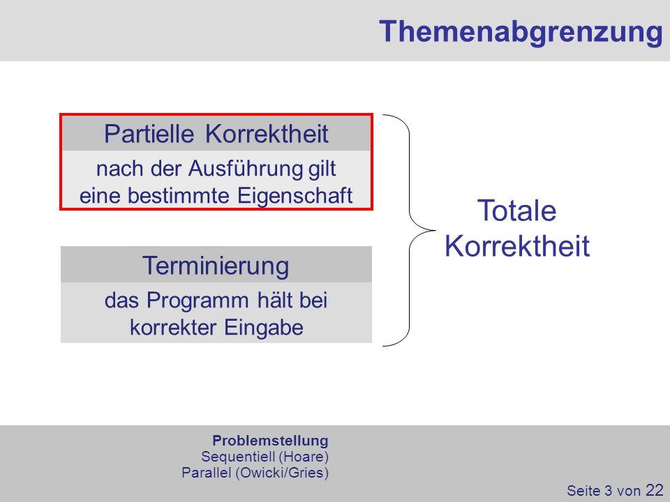 Themenabgrenzung Totale Korrektheit Partielle Korrektheit Terminierung