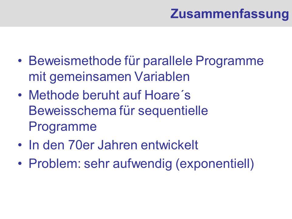 Zusammenfassung Beweismethode für parallele Programme mit gemeinsamen Variablen. Methode beruht auf Hoare´s Beweisschema für sequentielle Programme.