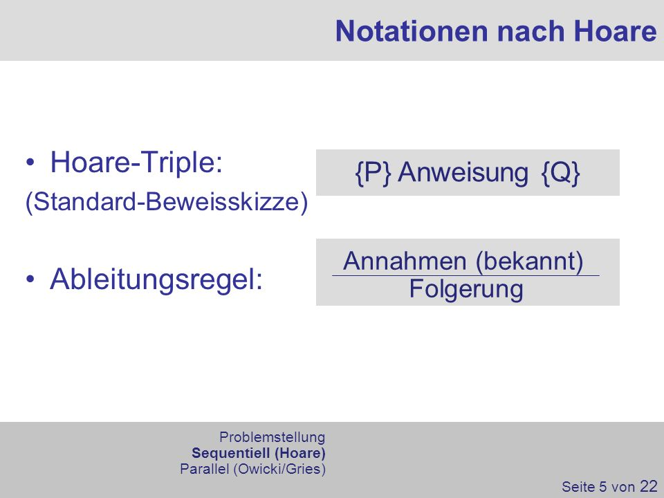 Notationen nach Hoare Hoare-Triple: Ableitungsregel: {P} Anweisung {Q}