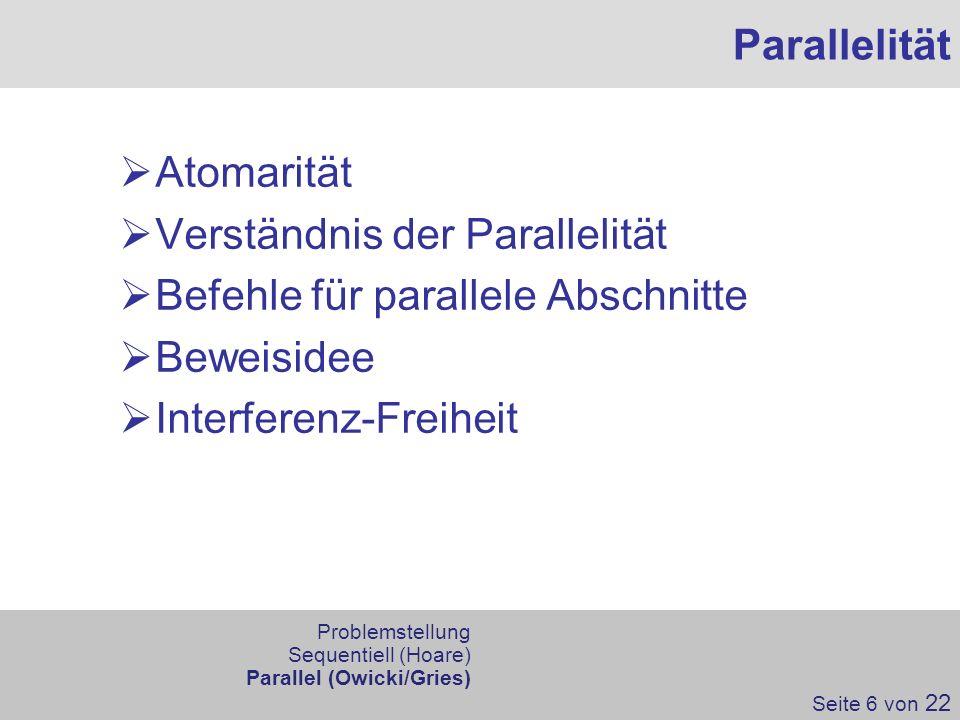 Verständnis der Parallelität Befehle für parallele Abschnitte