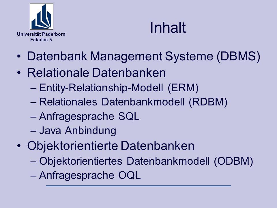 Inhalt Datenbank Management Systeme (DBMS) Relationale Datenbanken
