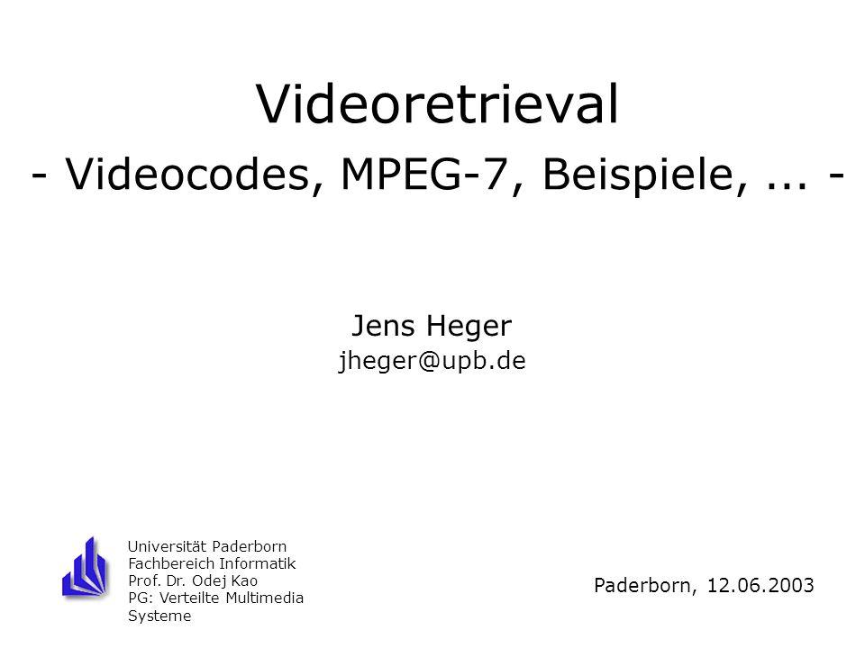 Videoretrieval - Videocodes, MPEG-7, Beispiele, ... -