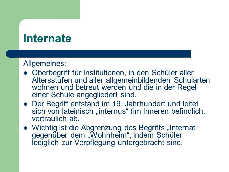 Internate Allgemeines: