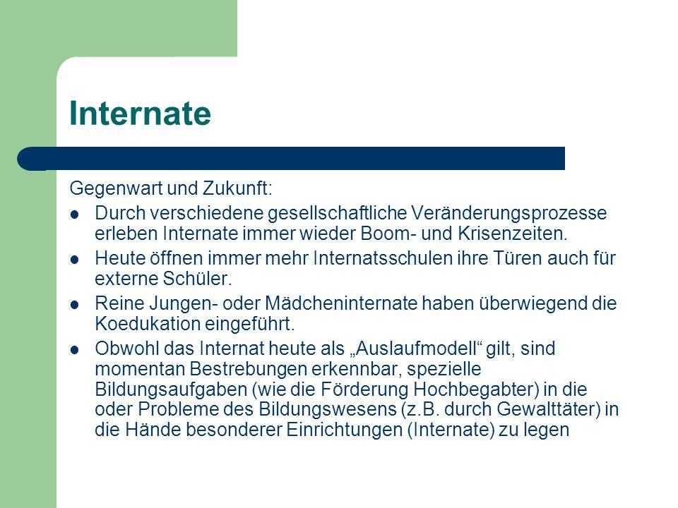 Internate Gegenwart und Zukunft: