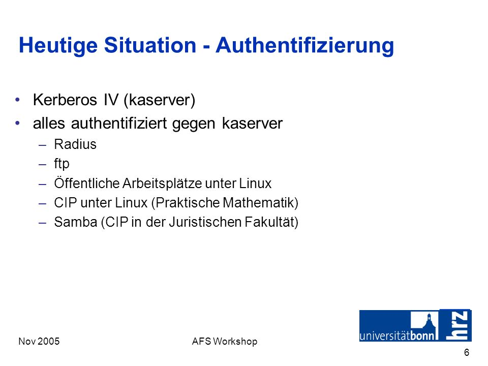 Heutige Situation - Authentifizierung
