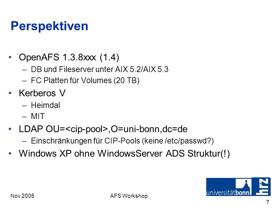 Perspektiven OpenAFS 1.3.8xxx (1.4) Kerberos V