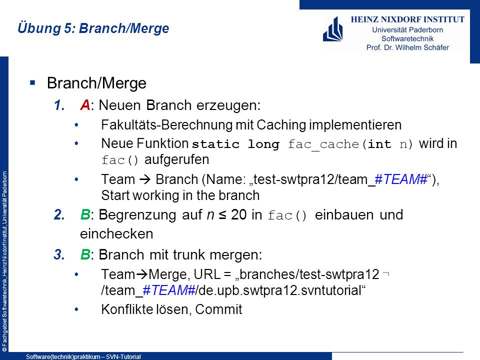Branch/Merge A: Neuen Branch erzeugen: