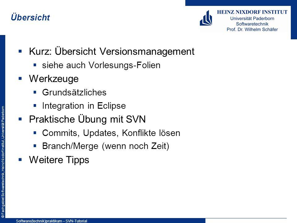Kurz: Übersicht Versionsmanagement Werkzeuge