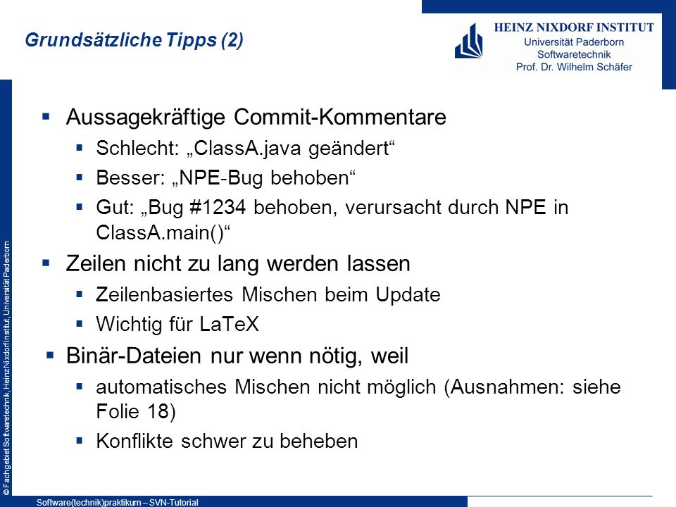 Grundsätzliche Tipps (2)