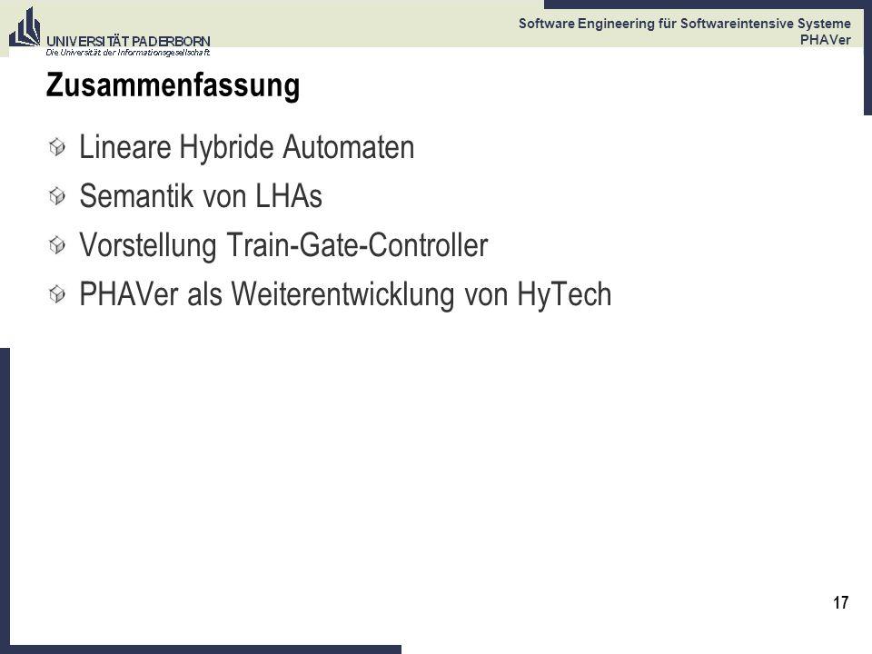 Zusammenfassung Lineare Hybride Automaten. Semantik von LHAs.
