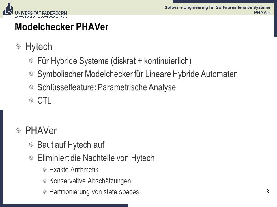 Modelchecker PHAVer Hytech PHAVer