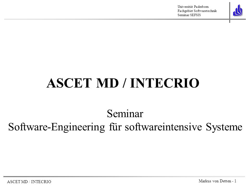 Seminar Software-Engineering für softwareintensive Systeme