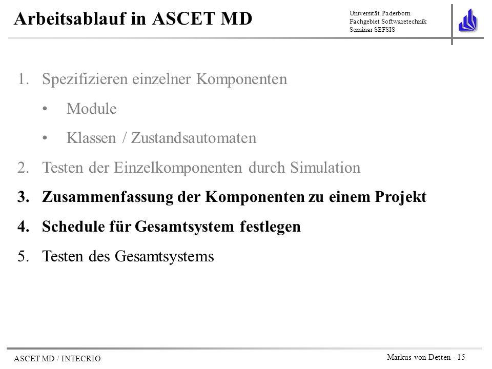 Arbeitsablauf in ASCET MD