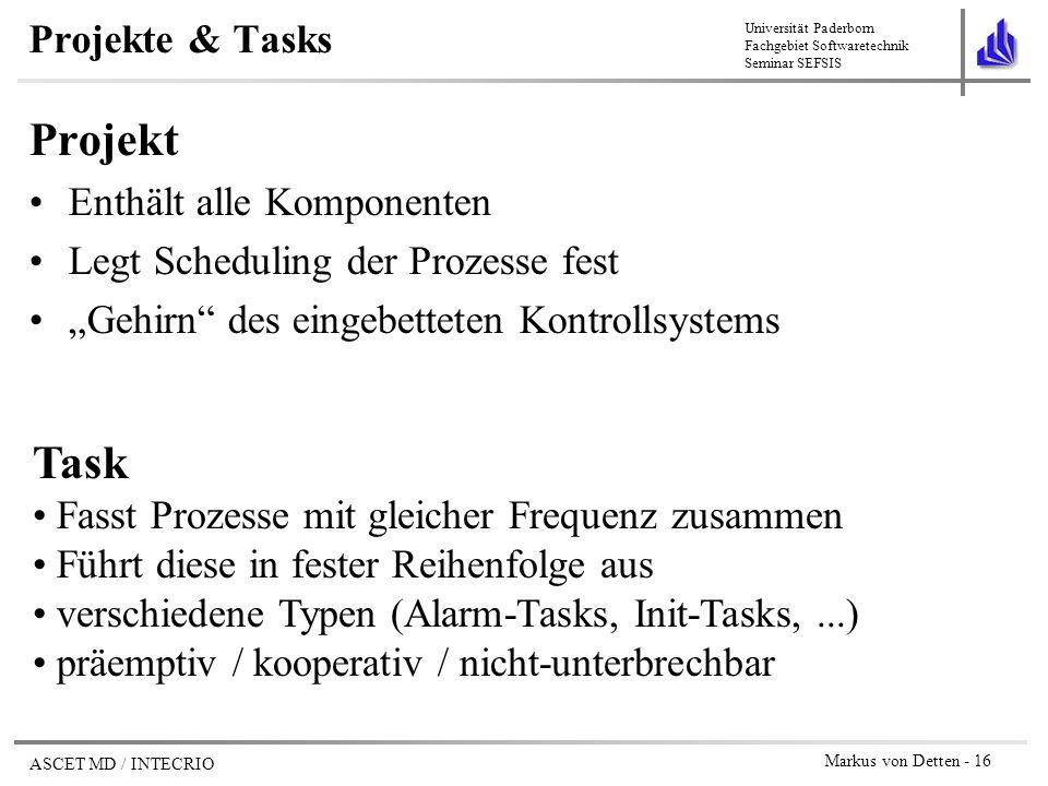 Projekt Task Projekte & Tasks Enthält alle Komponenten