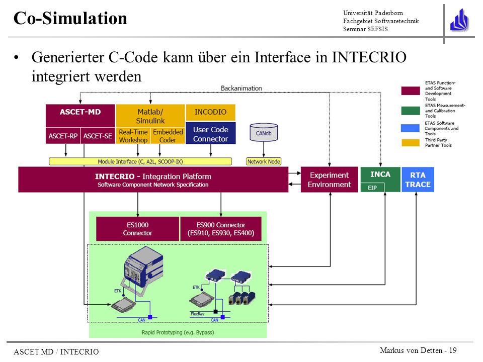 Co-Simulation Generierter C-Code kann über ein Interface in INTECRIO integriert werden
