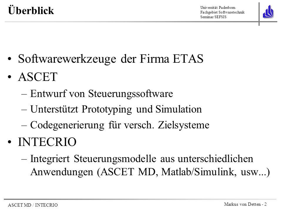 Softwarewerkzeuge der Firma ETAS ASCET