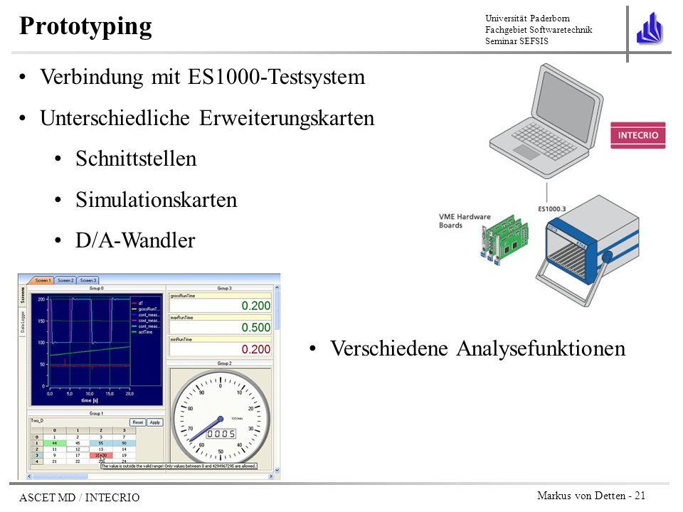 Prototyping Verbindung mit ES1000-Testsystem