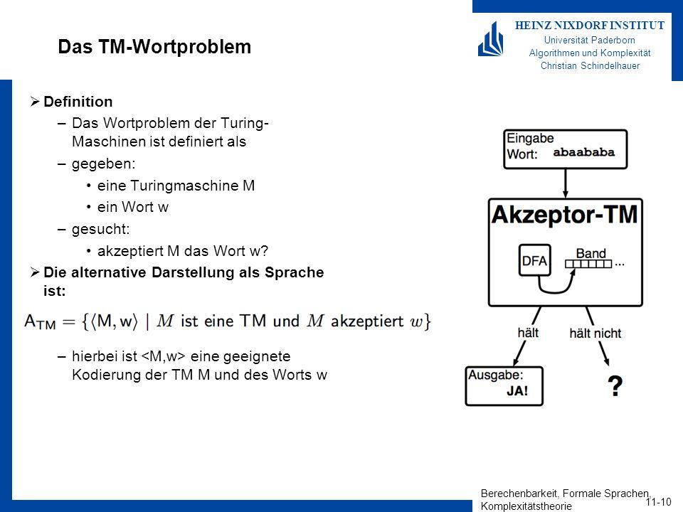 Das TM-Wortproblem Definition