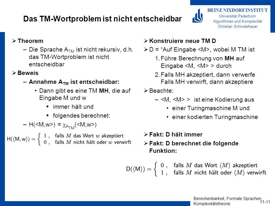 Das TM-Wortproblem ist nicht entscheidbar