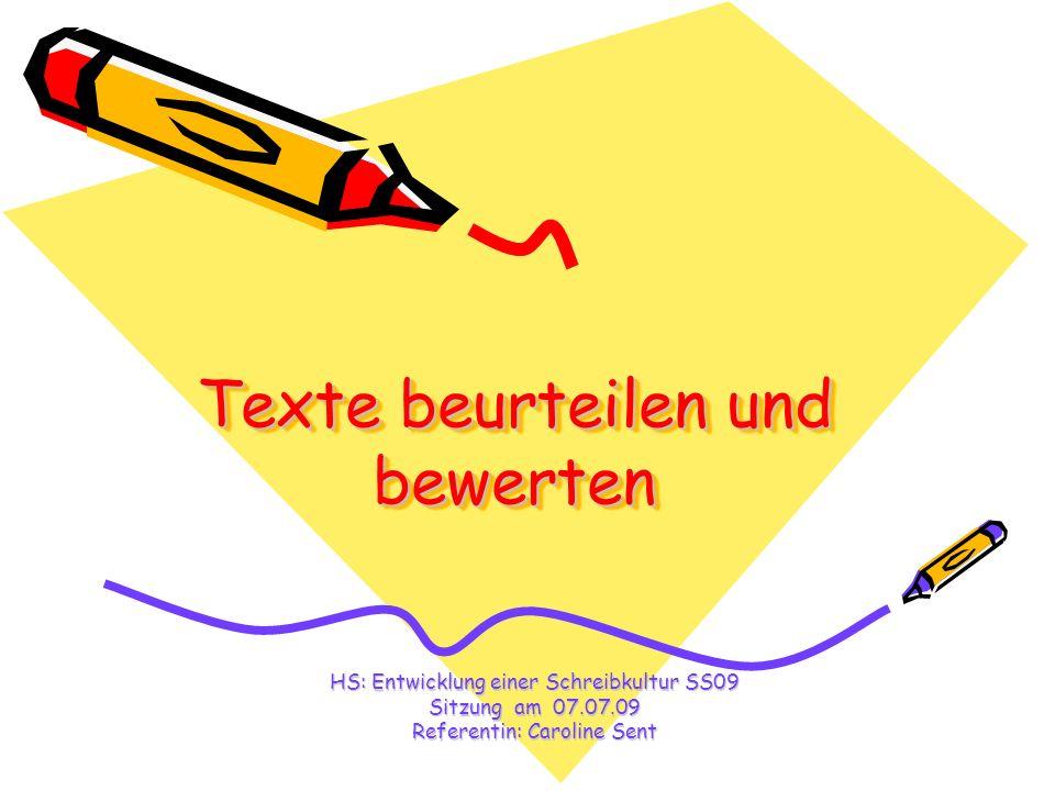 Texte beurteilen und bewerten
