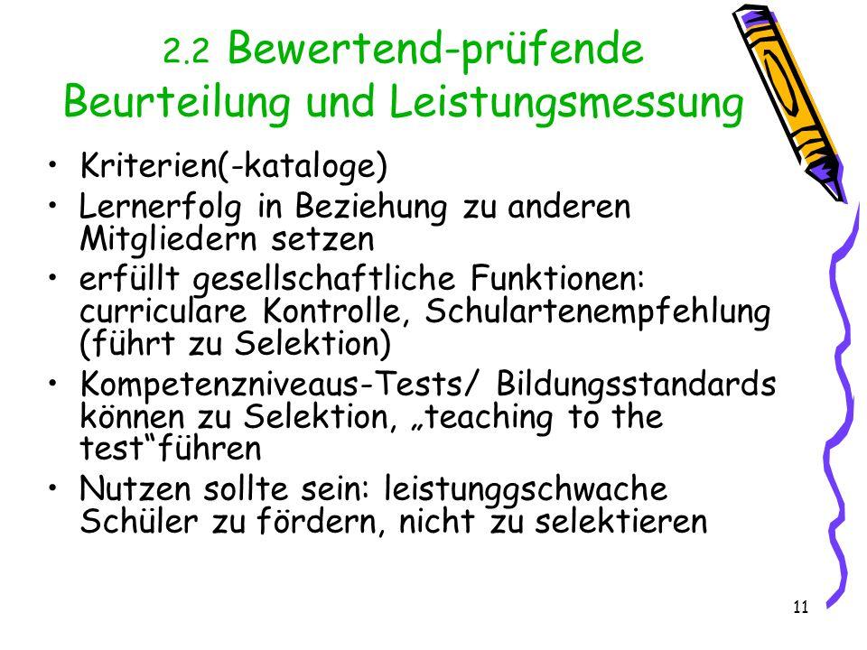 2.2 Bewertend-prüfende Beurteilung und Leistungsmessung