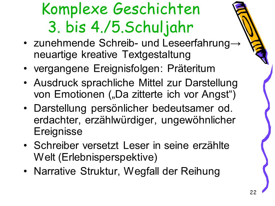 Komplexe Geschichten 3. bis 4./5.Schuljahr