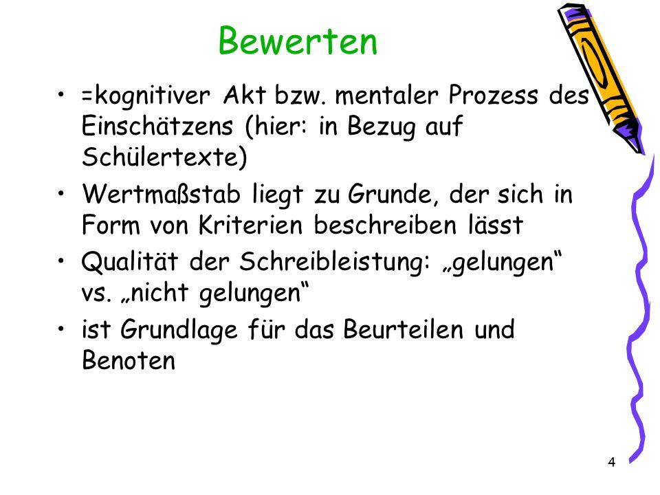 Bewerten =kognitiver Akt bzw. mentaler Prozess des Einschätzens (hier: in Bezug auf Schülertexte)