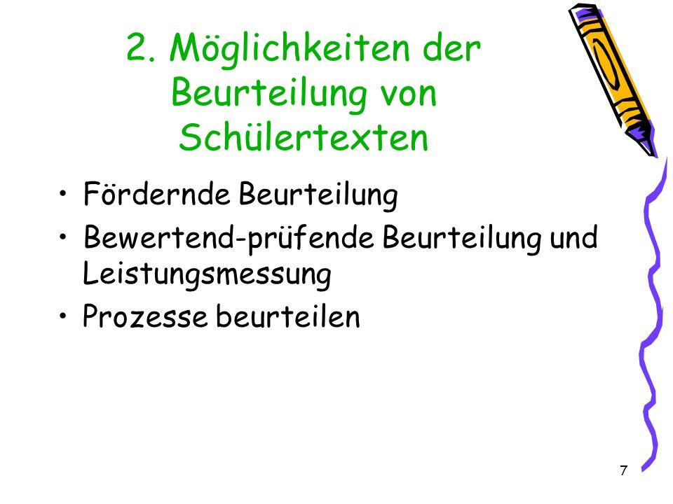 2. Möglichkeiten der Beurteilung von Schülertexten