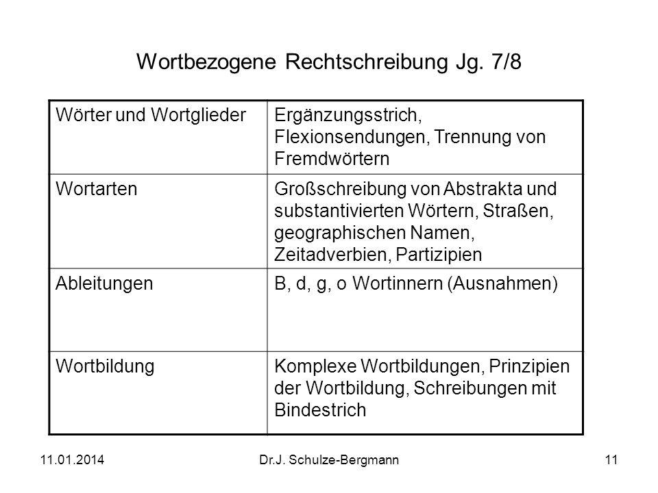 Wortbezogene Rechtschreibung Jg. 7/8