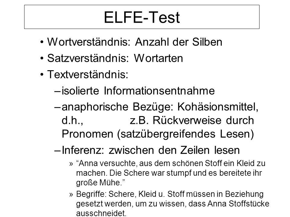 ELFE-Test Wortverständnis: Anzahl der Silben