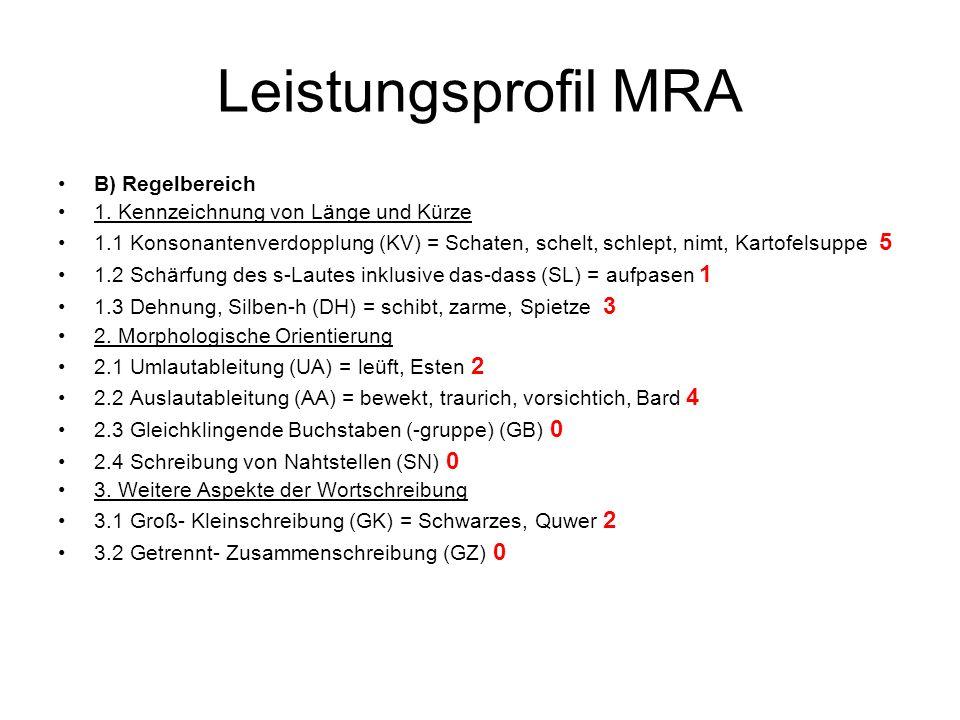 Leistungsprofil MRA B) Regelbereich