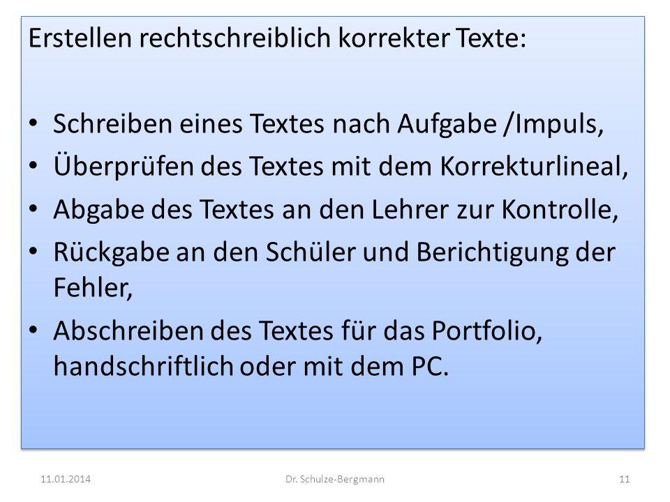 Erstellen rechtschreiblich korrekter Texte: