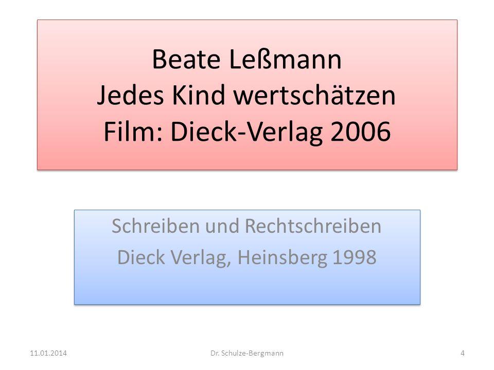 Beate Leßmann Jedes Kind wertschätzen Film: Dieck-Verlag 2006