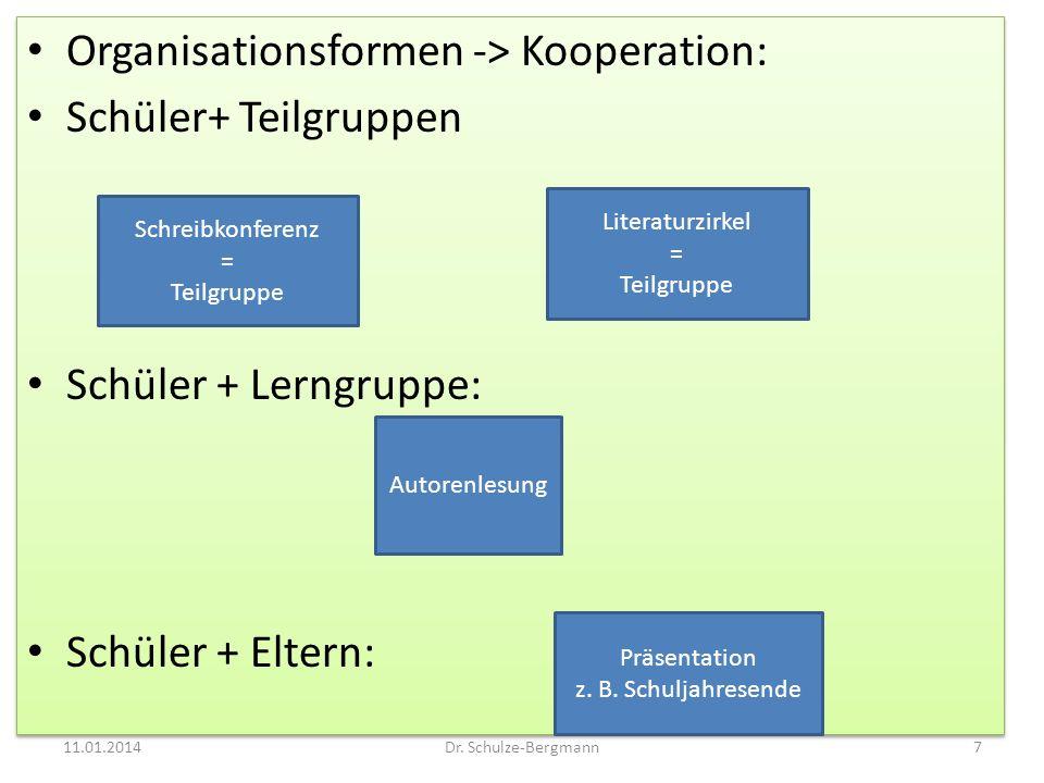 Organisationsformen -> Kooperation: Schüler+ Teilgruppen