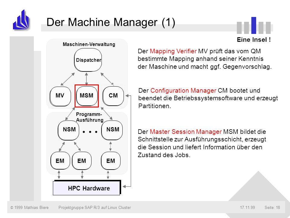 . . . Der Machine Manager (1) Eine Insel !