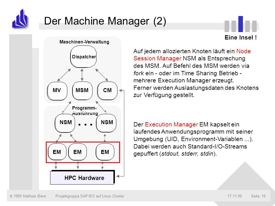 . . . Der Machine Manager (2) Andere Module per RPC gestartet