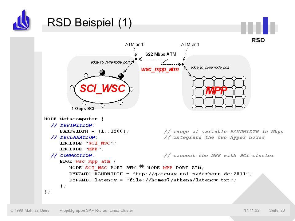RSD Beispiel (1) RSD Projektgruppe SAP R/3 auf Linux Cluster 17.11.99