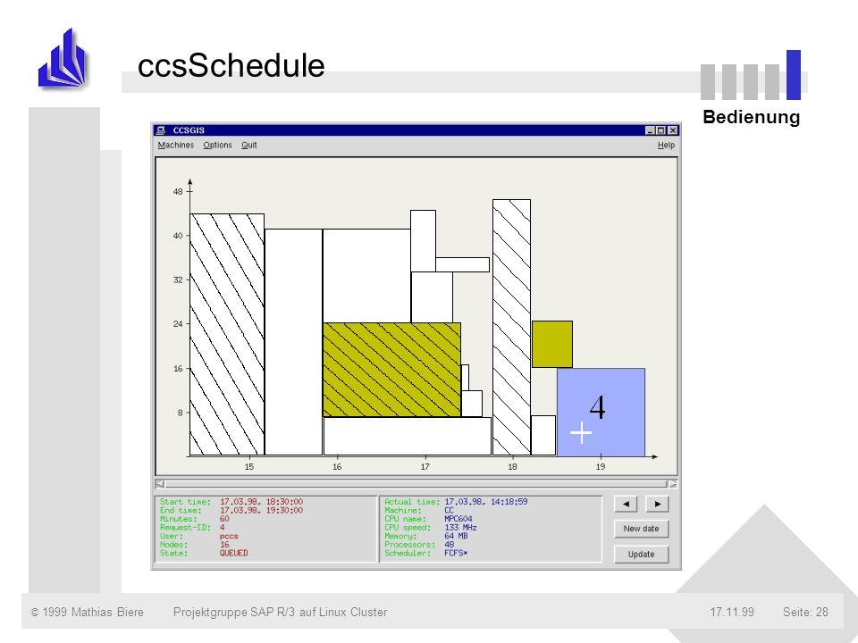 ccsSchedule Bedienung Projektgruppe SAP R/3 auf Linux Cluster 17.11.99