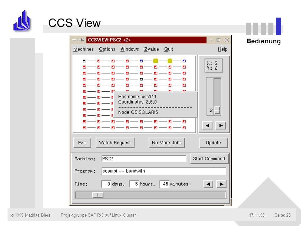 CCS View Bedienung Projektgruppe SAP R/3 auf Linux Cluster 17.11.99