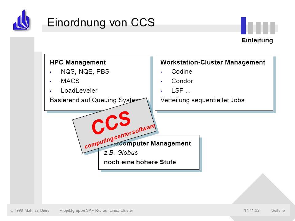 CCS Einordnung von CCS Einleitung HPC Management NQS, NQE, PBS MACS