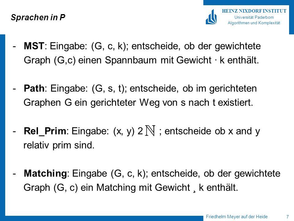 MST: Eingabe: (G, c, k); entscheide, ob der gewichtete