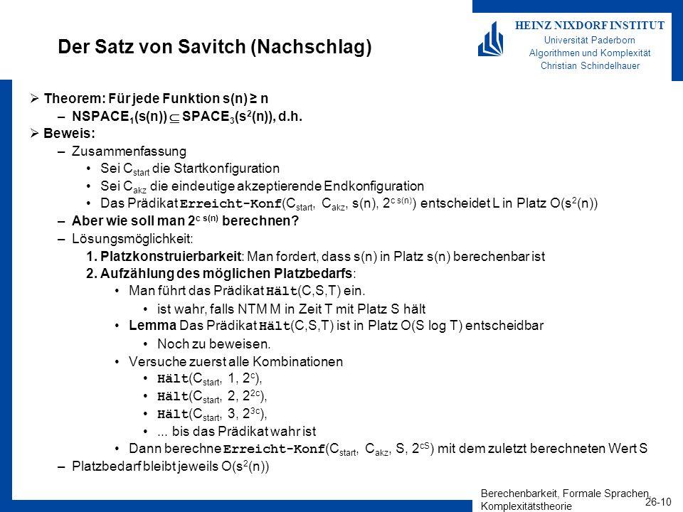 Der Satz von Savitch (Nachschlag)